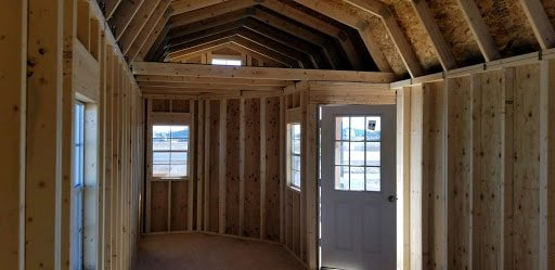 Lofted Cabins offer better above storage and best use of space.