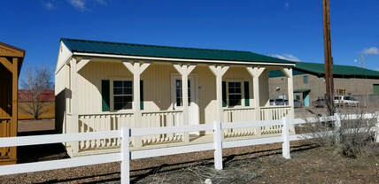 Elegant Portable Cabins for sale. Light And Bright with a full length Front Deck.