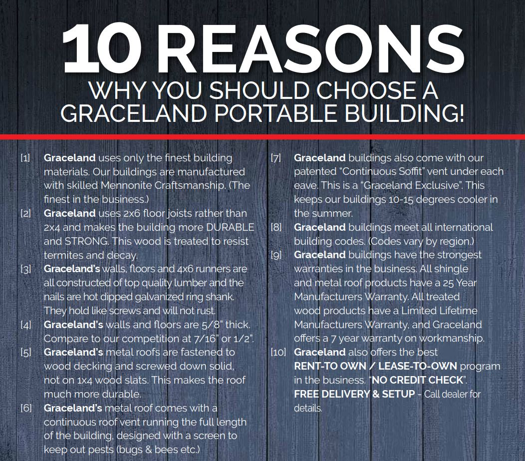 Best Top 10 Reasons To Buy Graceland Portable Buildings