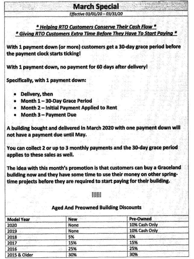 GRACELAND PORTABLE BUILDINGS SPRING PROMO | MARCH 2020