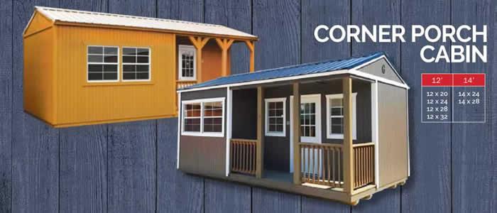 Graceland portable building corner porch cabin show low, Arizona 85901