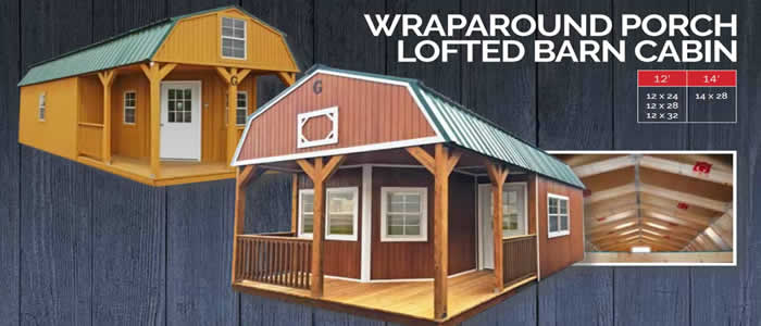 Graceland portable building wraparound porch lofted barn cabin show low, Arizona